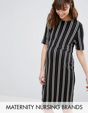 photo Double Layered Nursing Dress by New Look Maternity, color Black Patt - Image 1