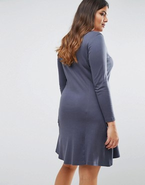 photo Long Sleeve Swing Dress by Junarose, color Navy - Image 2