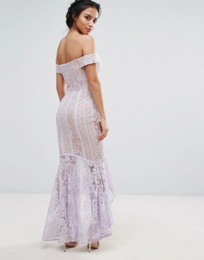 photo All Over Lace Off Shoulder Fishtail Dress by Jarlo Petite, color Lavender - Image 2