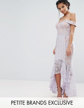photo All Over Lace Off Shoulder Fishtail Dress by Jarlo Petite, color Lavender - Image 1