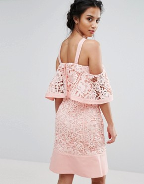 photo Cold Shoulder Cutwork Lace Mini Dress by Jarlo Petite, color Pink - Image 2