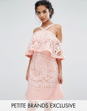photo Cold Shoulder Cutwork Lace Mini Dress by Jarlo Petite, color Pink - Image 1