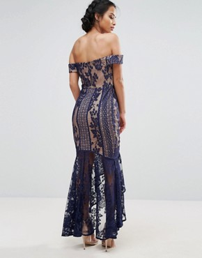 photo All Over Lace Off Shoulder Fishtail Dress by Jarlo Petite, color Navy - Image 2