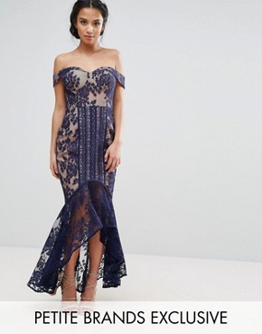 photo All Over Lace Off Shoulder Fishtail Dress by Jarlo Petite, color Navy - Image 1