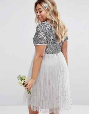 photo Cap Sleeve Floral Embellished Dress with Tulle Midi Skirt by Lovedrobe Luxe, color Grey - Image 2