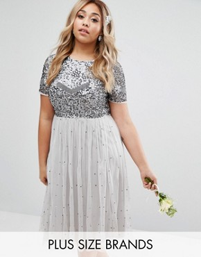 photo Cap Sleeve Floral Embellished Dress with Tulle Midi Skirt by Lovedrobe Luxe, color Grey - Image 1