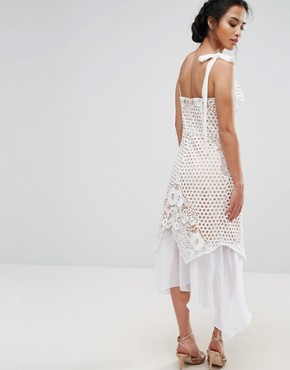 photo Cutwork Lace Dress with Chiffon Hem and Tie Cami Straps by Jarlo Petite, color White - Image 2