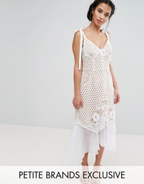 photo Cutwork Lace Dress with Chiffon Hem and Tie Cami Straps by Jarlo Petite, color White - Image 1