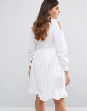 photo Cold Shoulder Ruffle Detail Skater Dress by Lovedrobe, color White - Image 2