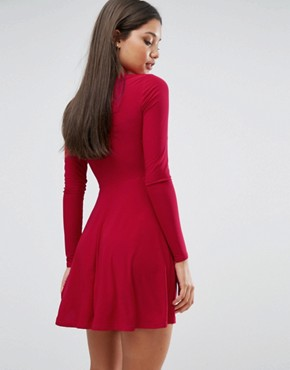 photo Plunge Front Skater Dress by Club L, color Red - Image 2