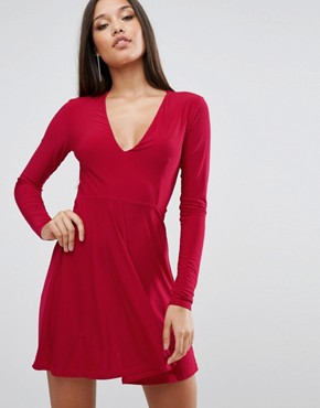 photo Plunge Front Skater Dress by Club L, color Red - Image 1
