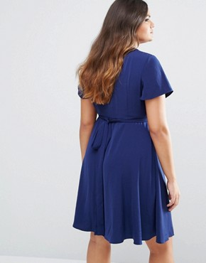 photo Frill Detail Tea Dress by Lovedrobe, color Navy - Image 2