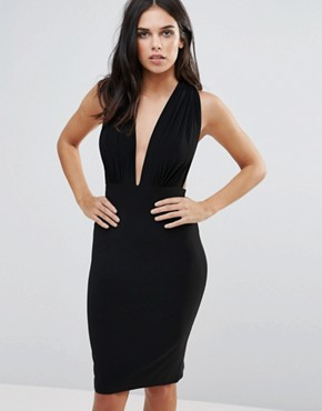 photo Plunge Neck Cross Back Pencil Dress by Love, color Black - Image 2