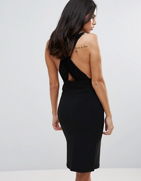 photo Plunge Neck Cross Back Pencil Dress by Love, color Black - Image 1