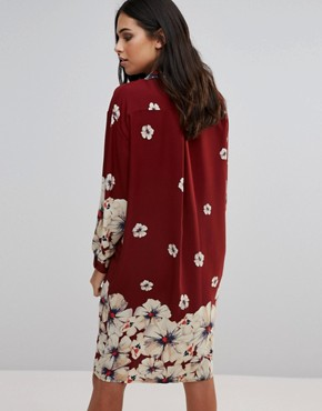 photo Oversized Shirt Dress In Border Print by Love, color  - Image 2