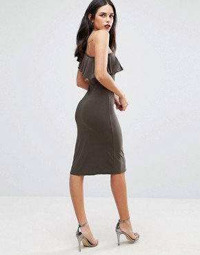 photo One Shoulder Frill Dress by Love, color Khaki - Image 2