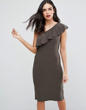 photo One Shoulder Frill Dress by Love, color Khaki - Image 1