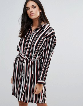 photo Striped Belted Shirt Dress by Love, color  - Image 1