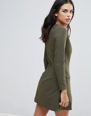 photo Plunge Neck Pocket Dress by Love, color Khaki - Image 2