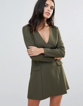 photo Plunge Neck Pocket Dress by Love, color Khaki - Image 1