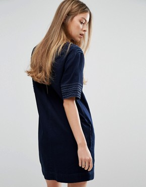 photo Luna Denim Dress with Trim Detail by MiH Jeans, color Embroidered Blue - Image 2