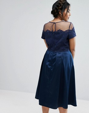 photo Embroidered Mesh Bodice Dress with Sateen Skirt by Chi Chi London Plus, color Navy - Image 2