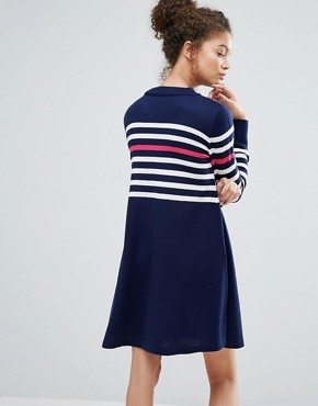 photo Knitted Dress with Stripe and Heart by ASOS PETITE, color Navy - Image 2