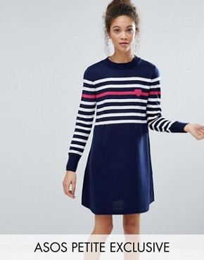 photo Knitted Dress with Stripe and Heart by ASOS PETITE, color Navy - Image 1