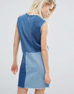 photo Shift Dress In Patchwork Denim by I Love Friday, color Blue - Image 2