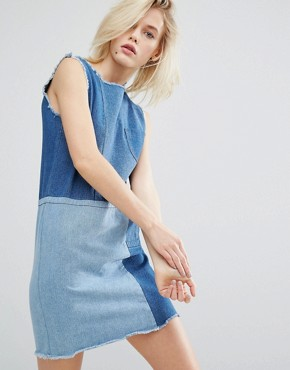 photo Shift Dress In Patchwork Denim by I Love Friday, color Blue - Image 1