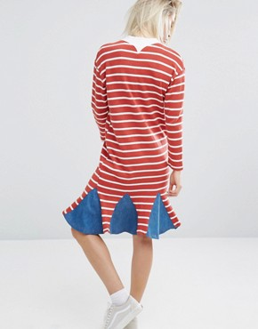 photo Stripe Dress with Denim Insert Hem by I Love Friday, color Red - Image 2