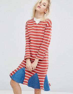 photo Stripe Dress with Denim Insert Hem by I Love Friday, color Red - Image 1