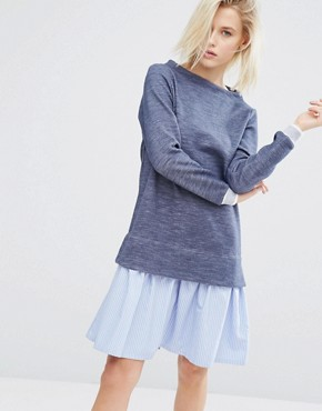 photo 2 In 1 Jumper Dress with Stripe Hem Shirt Layer by I Love Friday, color Blue - Image 1