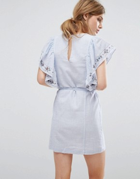 photo Frilled Denim Dress by Suncoo, color Blue Jeans - Image 2