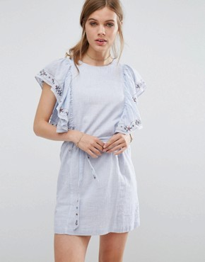 photo Frilled Denim Dress by Suncoo, color Blue Jeans - Image 1