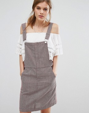 photo Pinstripe Dungaree Dress by Suncoo, color Red - Image 1