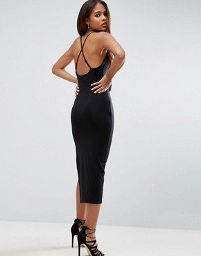 photo Halter Strappy Back Midi Dress by ASOS TALL, color Black - Image 2