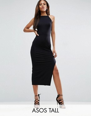 photo Halter Strappy Back Midi Dress by ASOS TALL, color Black - Image 1