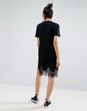 photo T-Shirt Dress with Lace Inserts by ASOS TALL, color Black - Image 2