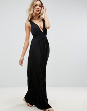 photo Cross Back Jersey Maxi Beach Dress by ASOS, color Black - Image 2