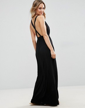 photo Cross Back Jersey Maxi Beach Dress by ASOS, color Black - Image 1