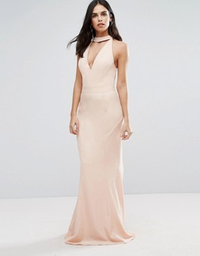 photo Choker Neck Maxi Dress by Jarlo, color Peach - Image 1