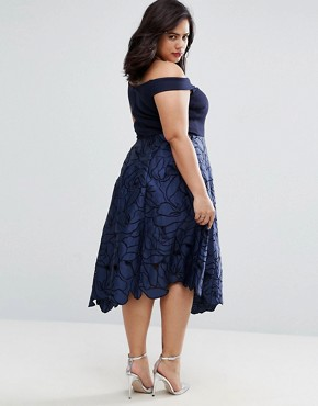photo Valerie 2 In 1 Cutwork Lace Bardot Midi Dress by Coast Plus, color Navy - Image 2