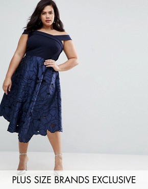 photo Valerie 2 In 1 Cutwork Lace Bardot Midi Dress by Coast Plus, color Navy - Image 1