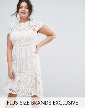 photo Dee Dee Lace Peplum Dress by Coast Plus, color Cream - Image 1