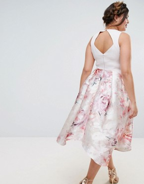 photo Orsay Bardot Midi Dress with Floral Print Skirt by Coast Plus, color Blush - Image 2