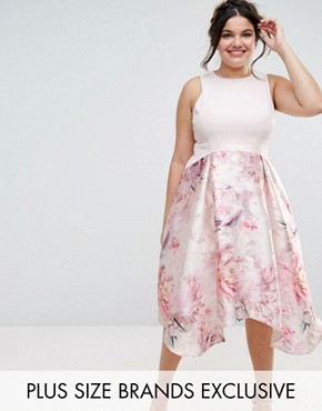 photo Orsay Bardot Midi Dress with Floral Print Skirt by Coast Plus, color Blush - Image 1