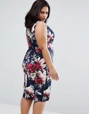 photo Penelope Floral Print Scuba Pencil Dress by Coast Plus, color Navy - Image 2