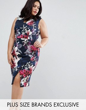 photo Penelope Floral Print Scuba Pencil Dress by Coast Plus, color Navy - Image 1