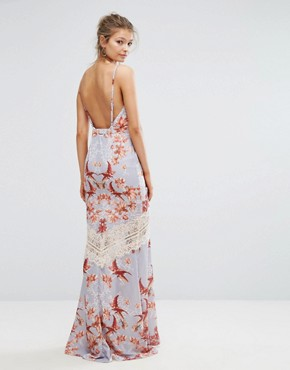 photo Printed Maxi Dress with Low Back and Eyelash Lace Trim by Hope & Ivy, color Blue/Multi Print - Image 2